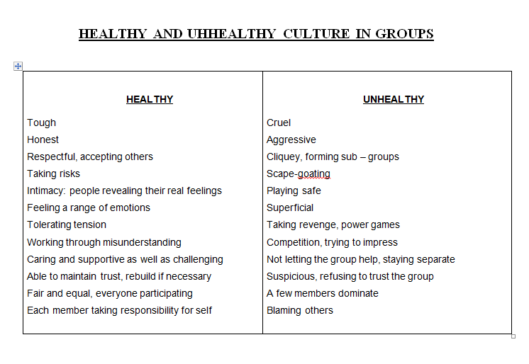 Healthy and Unhealthy Behaviour in Group
